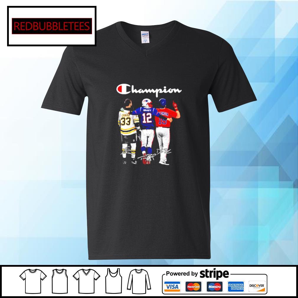 Champion Chara Brady And Pedroia Signatures Shirt V-neck T-shirt
