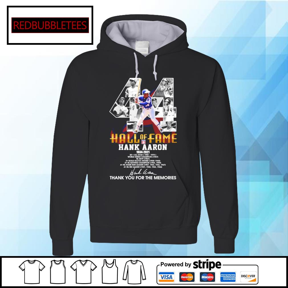 Hall of fame Hank Aaron 1934-2021 signature thank you for the memories Hoodie