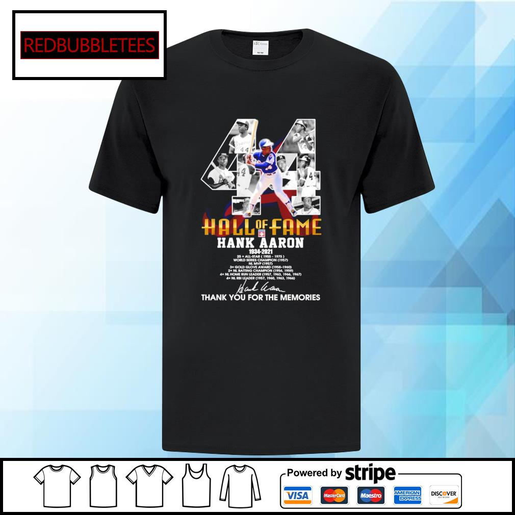 Hall of fame Hank Aaron 1934-2021 signature thank you for the memories shirt