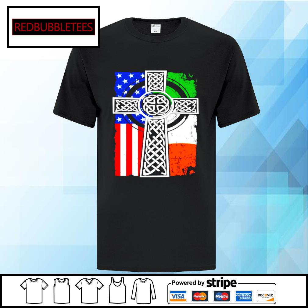Irish American USA Flag Celtic Cross St Patricks Day Shirt