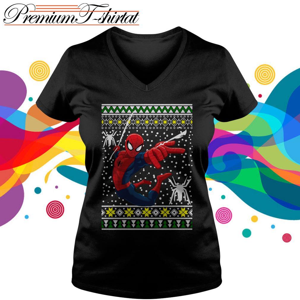 Amazing Spiderman ugly Christmas v-neck t-shirt