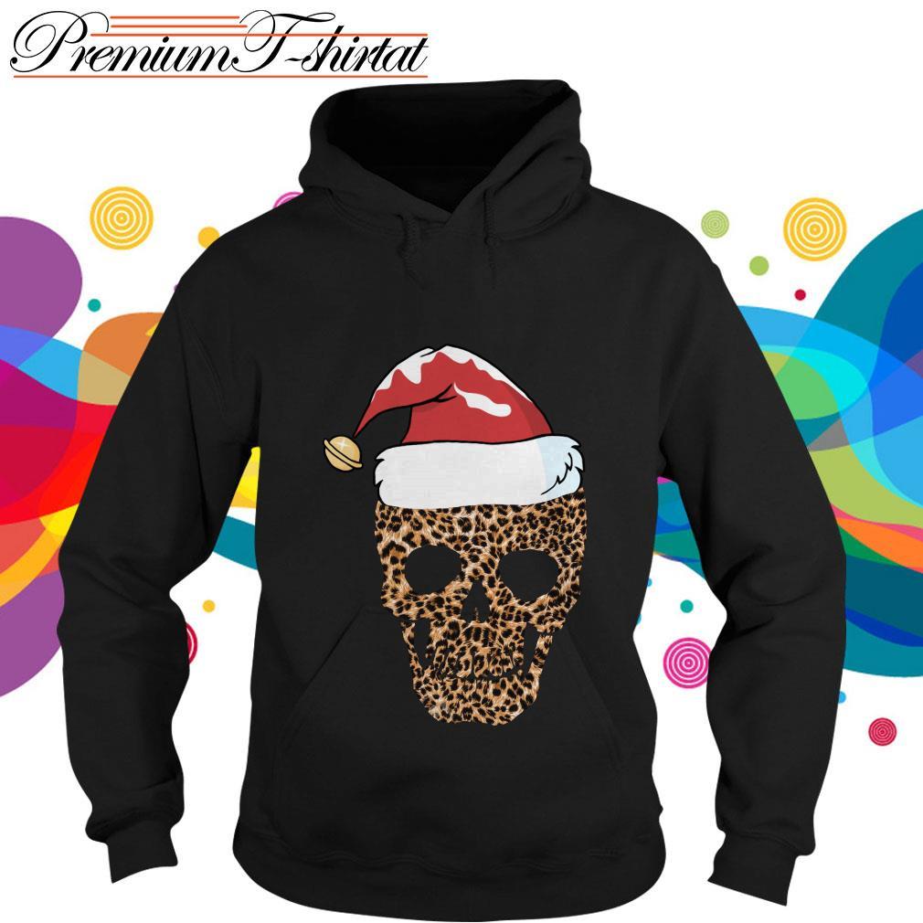 Leopard skull Santa hat Christmas hoodie