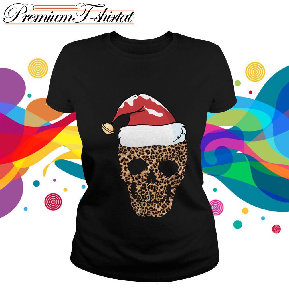 Leopard skull Santa hat Christmas ladies tee