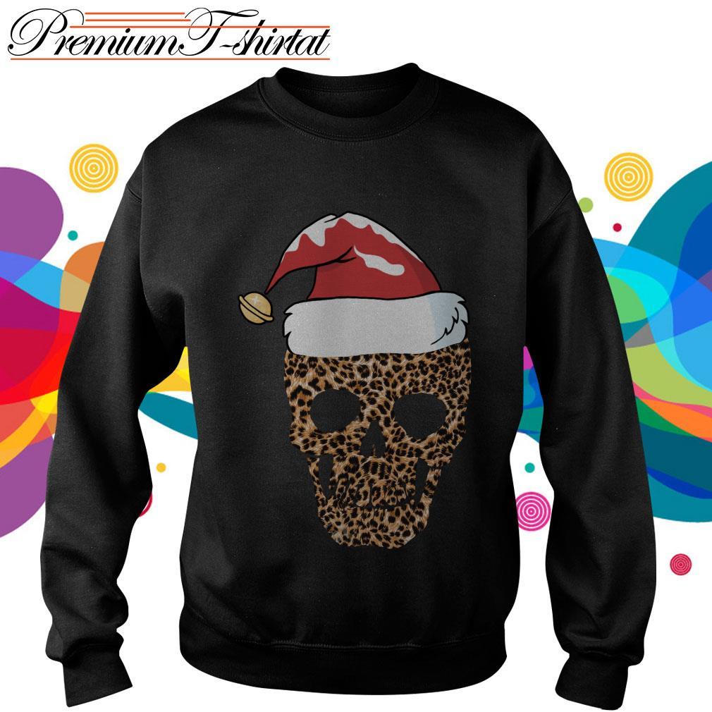 Leopard skull Santa hat Christmas sweater