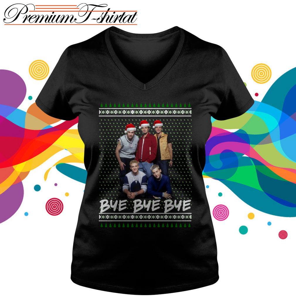 NSYNC Bye bye bye ugly Christmas shirt, V-neck T-shirt
