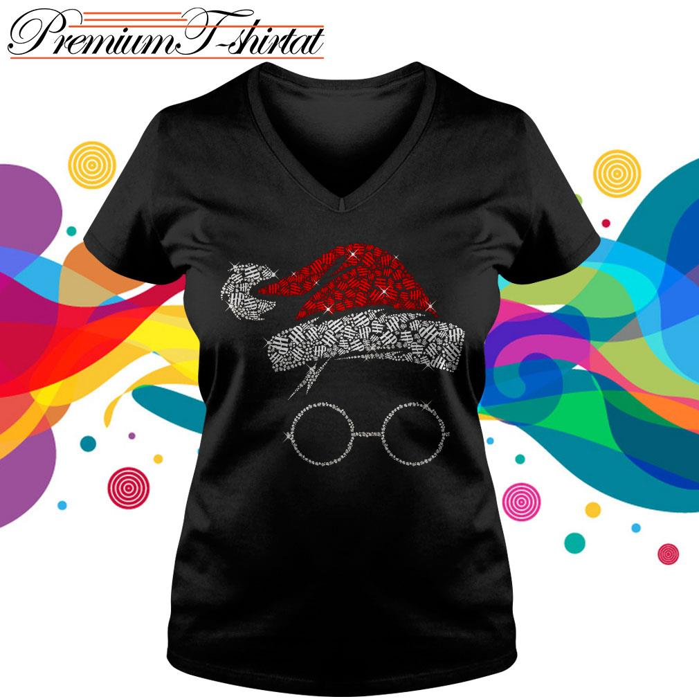 Rhinestone Harry Potter Christmas V-neck T-shirt