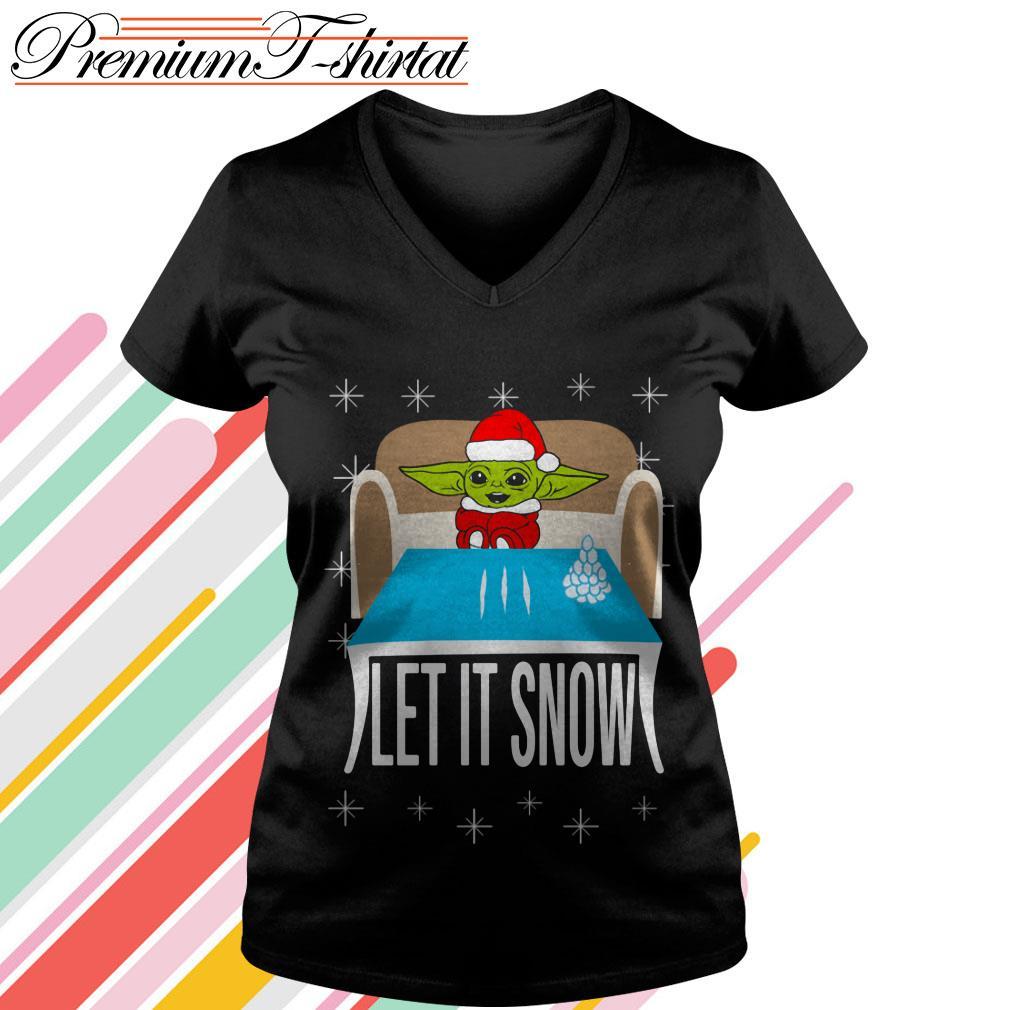 Baby Yoda Cocain let it snow V-neck T-shirt
