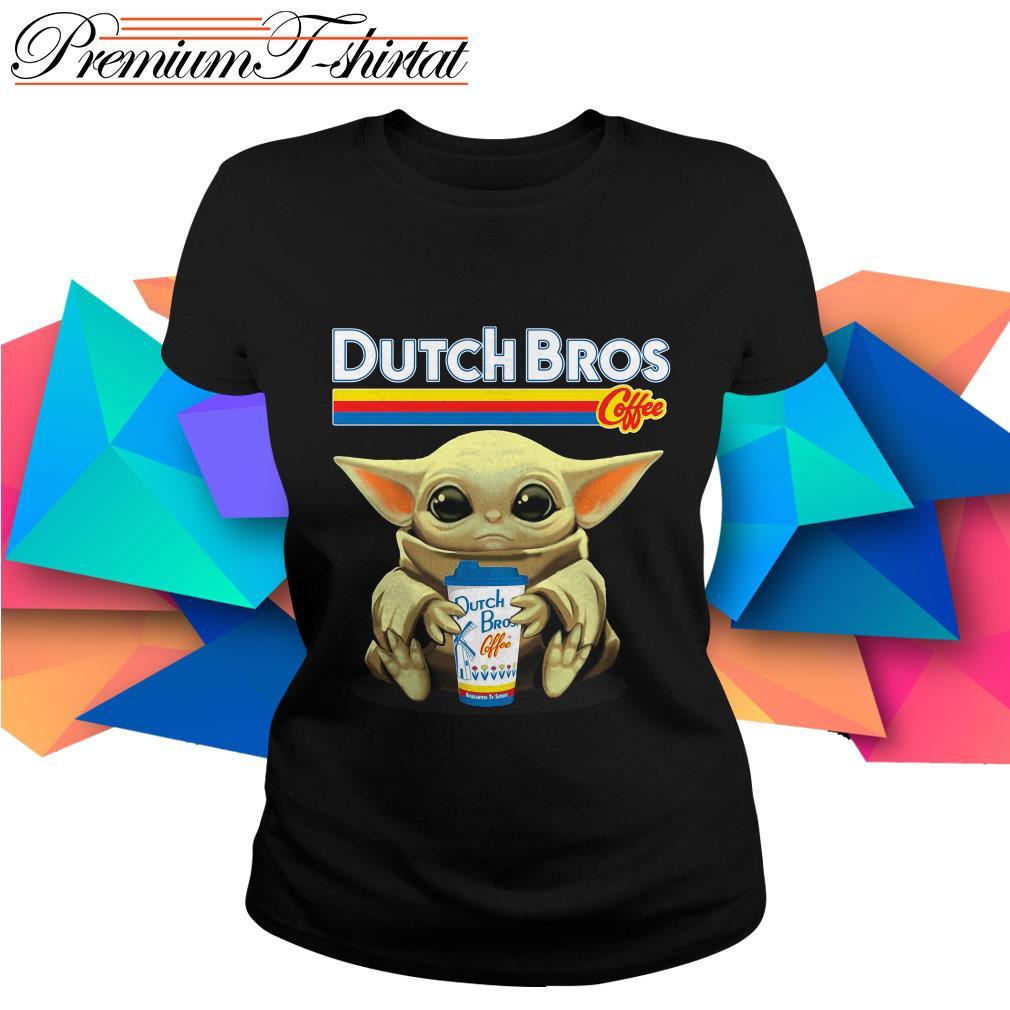 Baby Yoda hug Dutch Bros Coffee Ladies tee