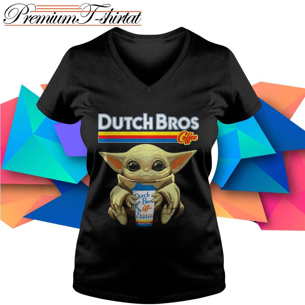 Baby Yoda hug Dutch Bros Coffee V-neck T-shirt