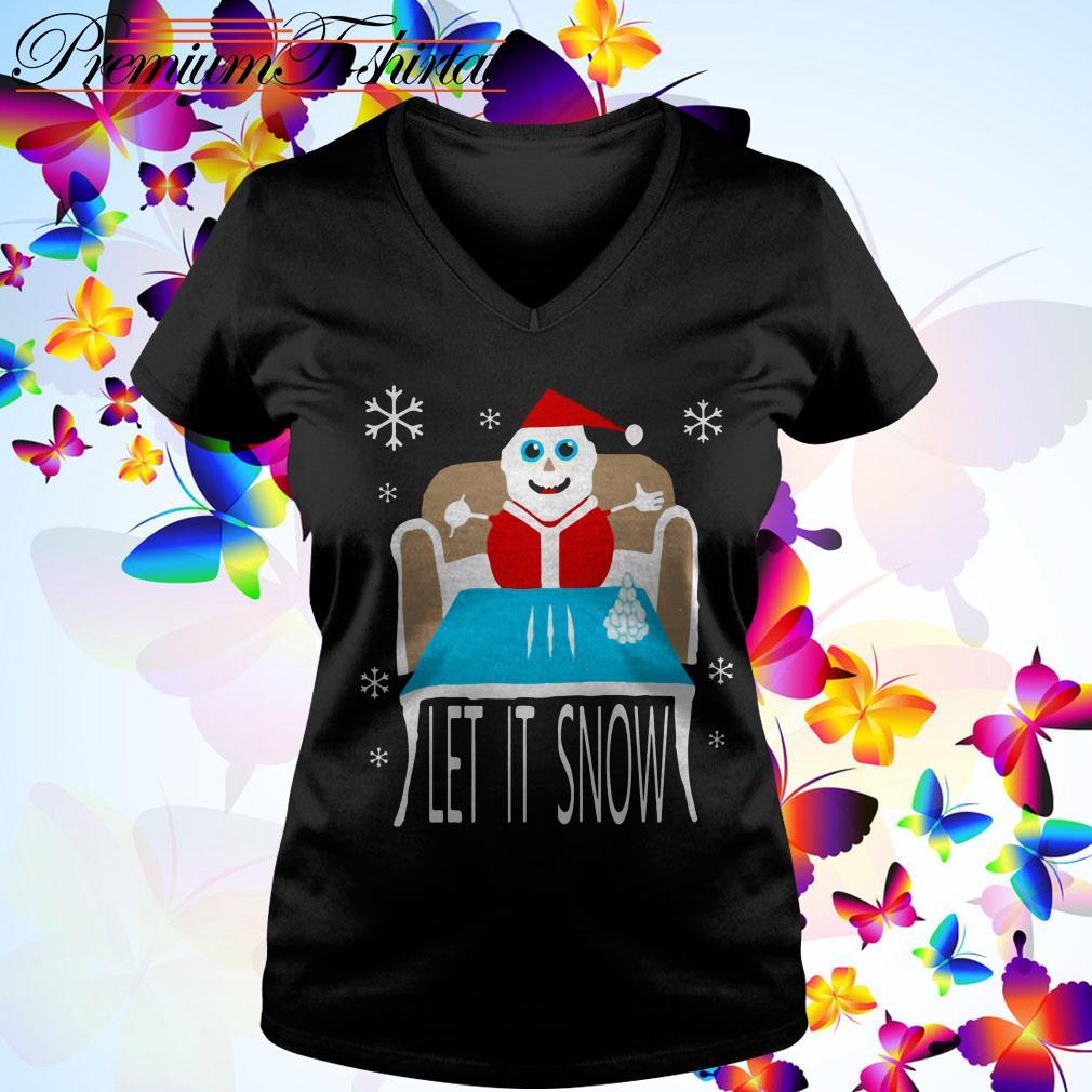 Cocaine Santa let it snow v-neck t-shirt