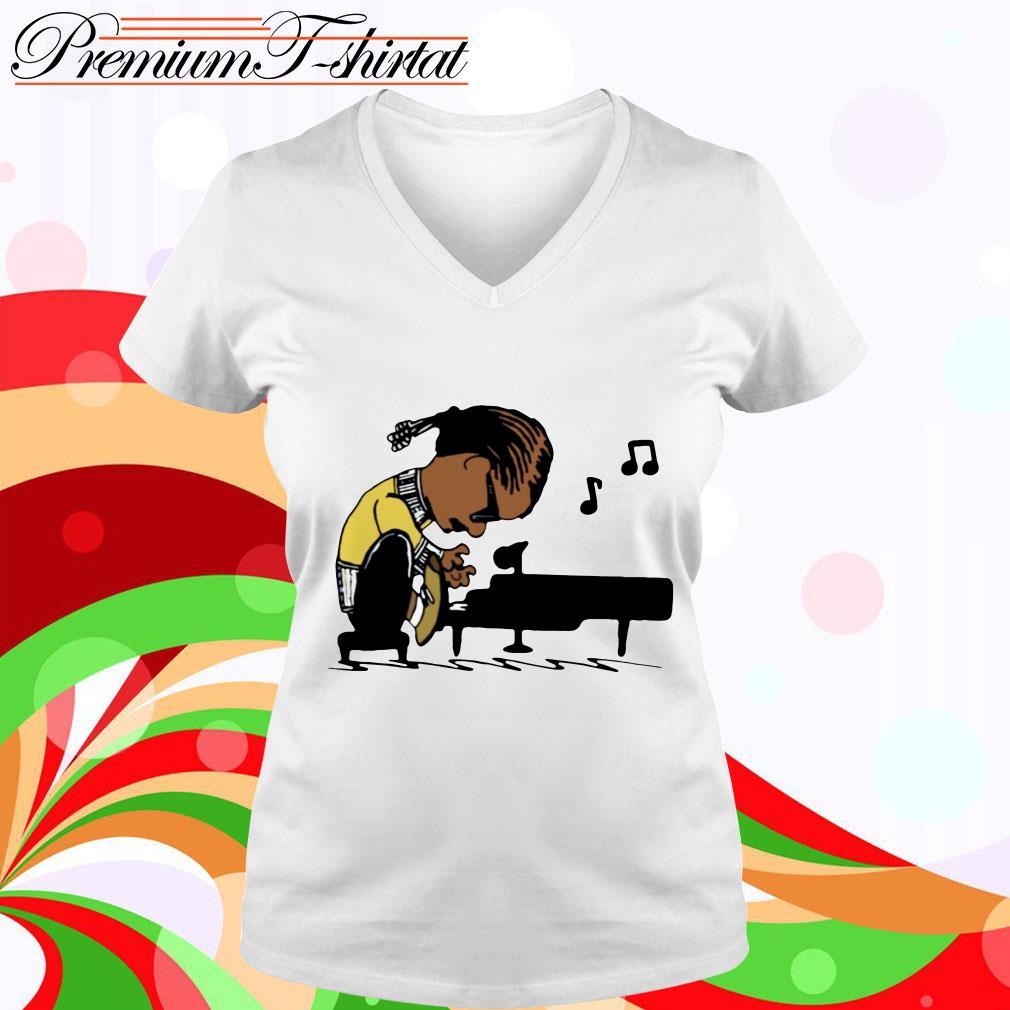 Snoop Dogg playing piano v-neck t-shirt