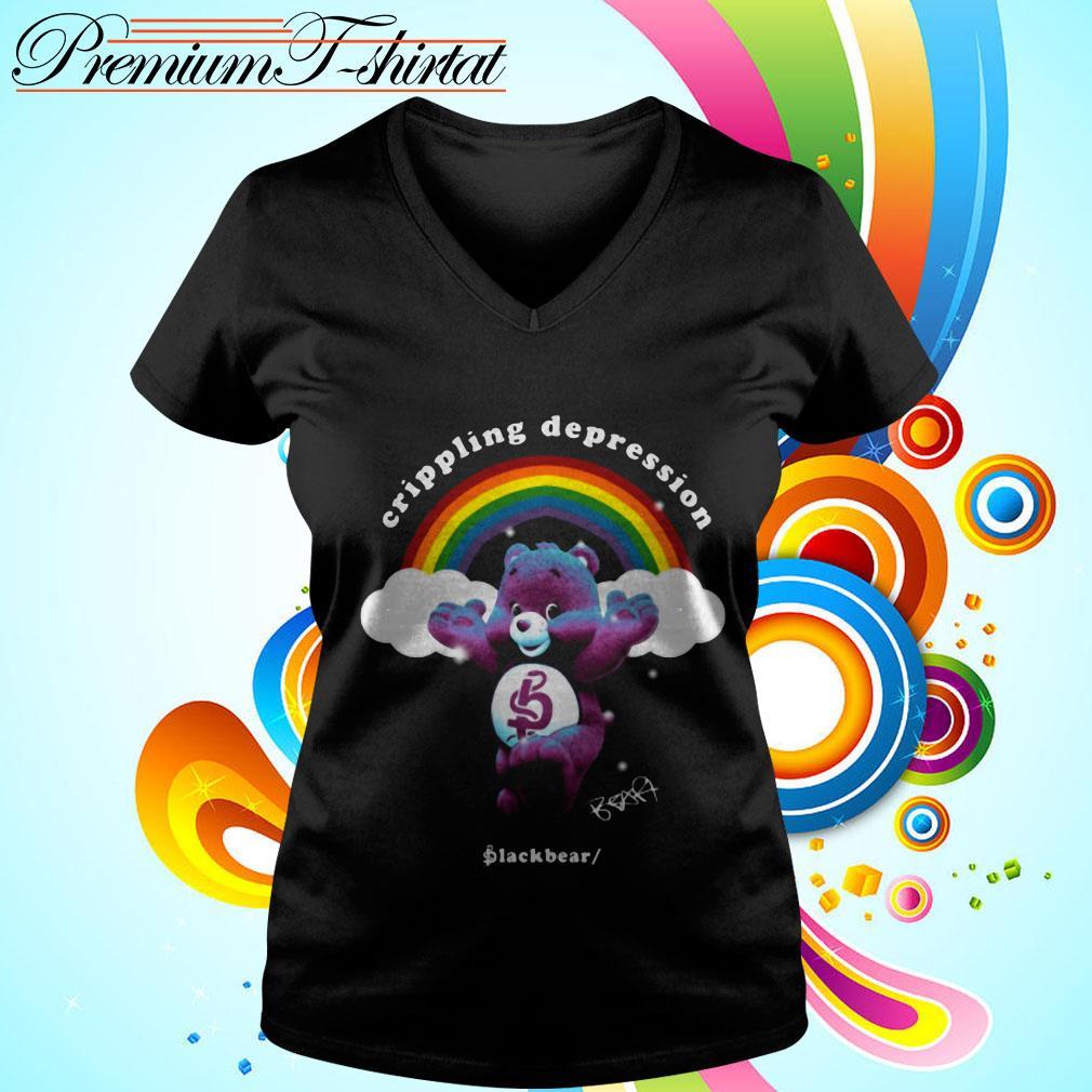 Rainbow crippling depression black bear signature V-neck T-shirt