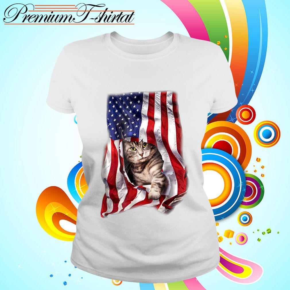 American Cat Flag Shirt ladies tee