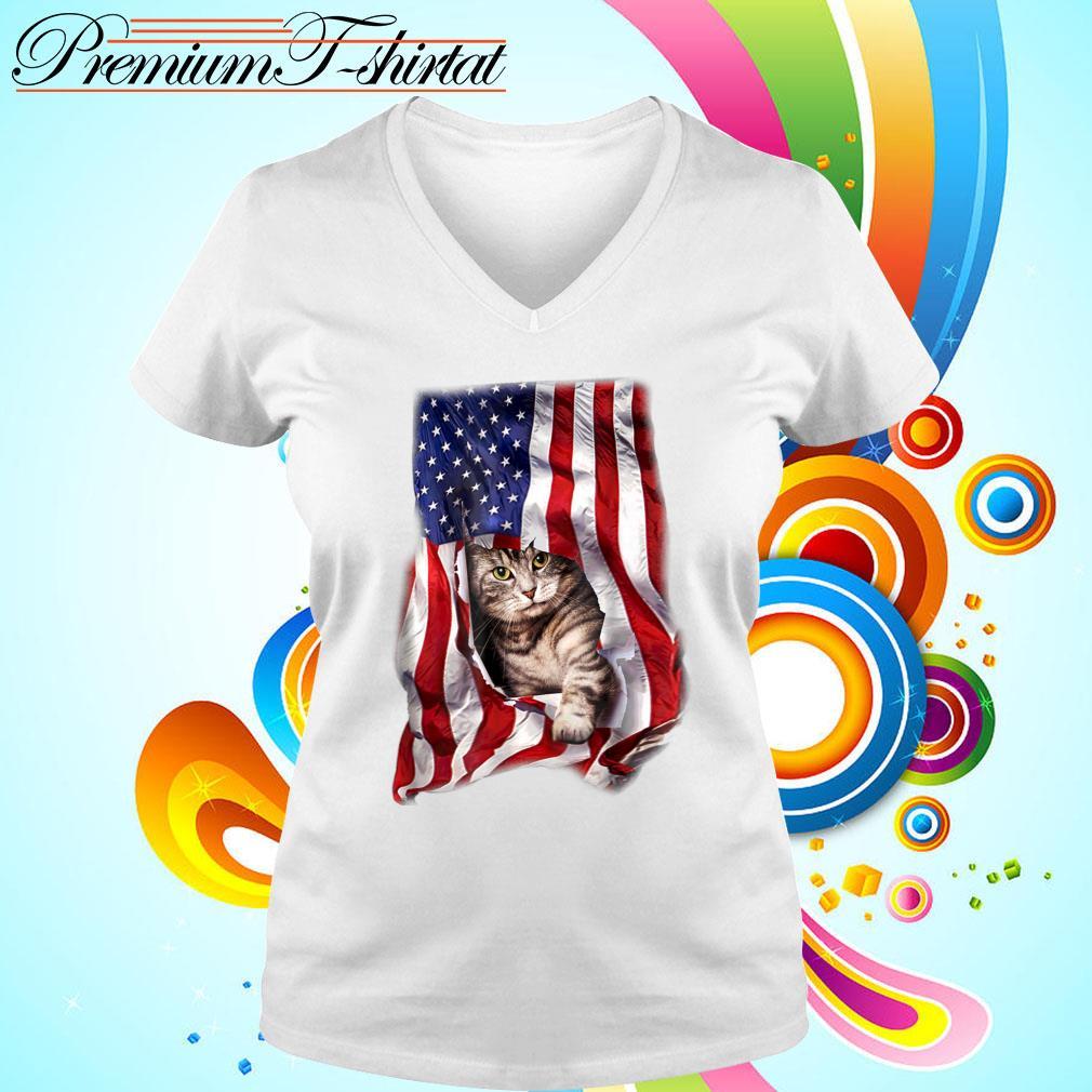 American Cat Flag Shirt v-neck t-shirt