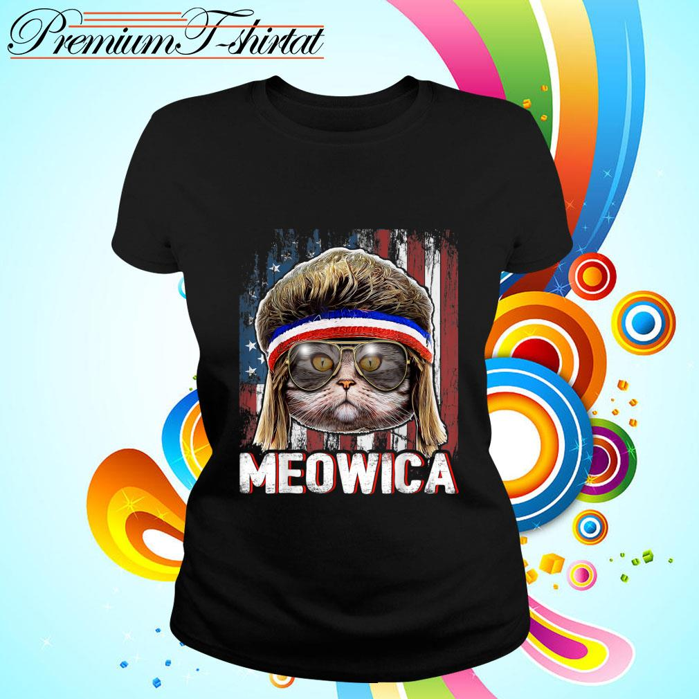 Cat Meowica American Flag 4th Of July Independence Day s ladies-tee