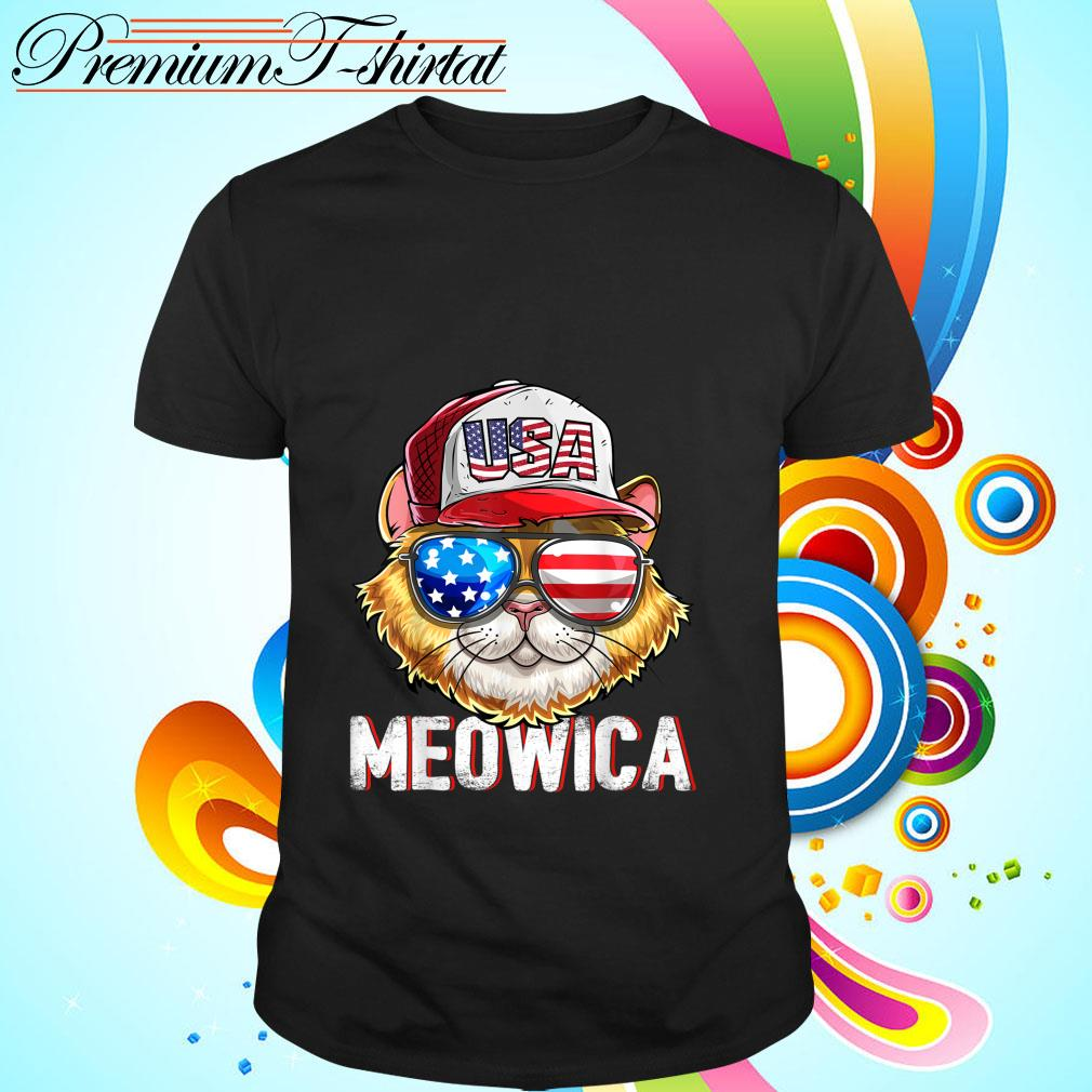 Hot Meowica Cat Hat Sunglasses USA American Flag Independence Day shirt