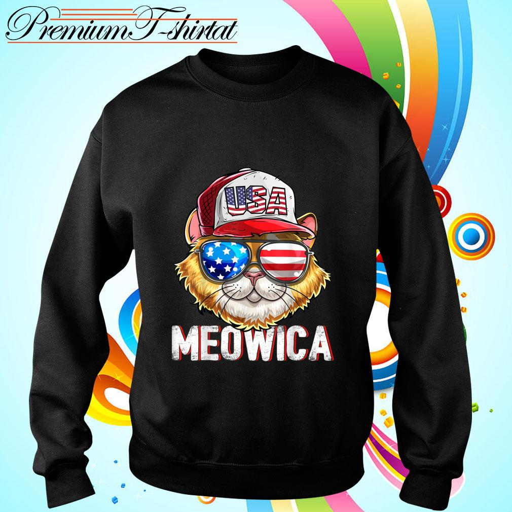 Hot Meowica Cat Hat Sunglasses USA American Flag Independence Day s sweater