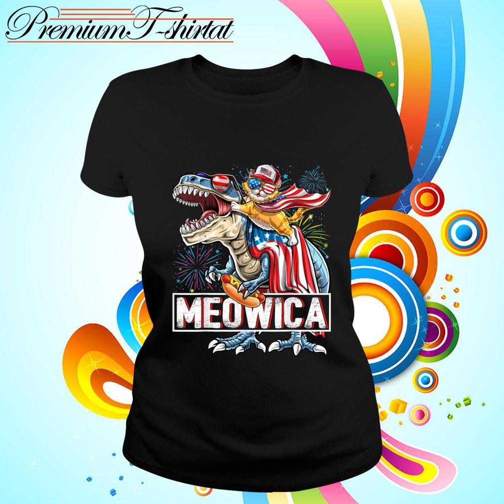 Meowica Amerisaurus Rex Happy Independence Day Shirt ladies-tee