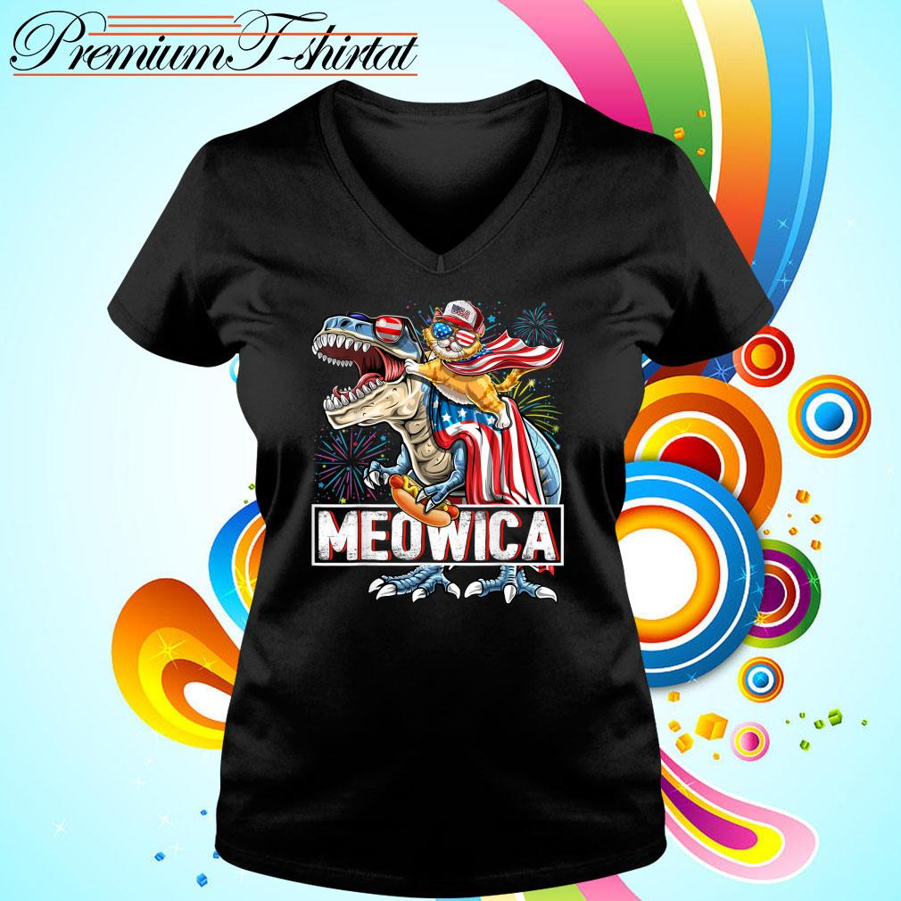 Meowica Amerisaurus Rex Happy Independence Day Shirt v-neck-t-shirt