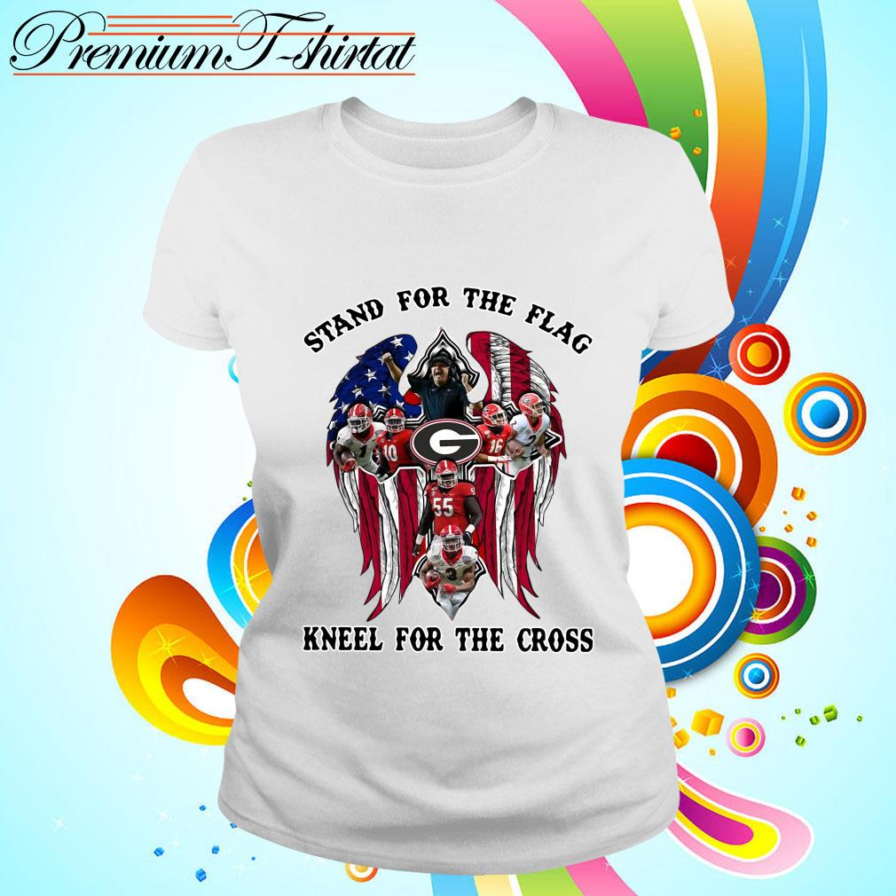 Georgia Bulldogs stand for the flag kneel for the cross s ladies tee
