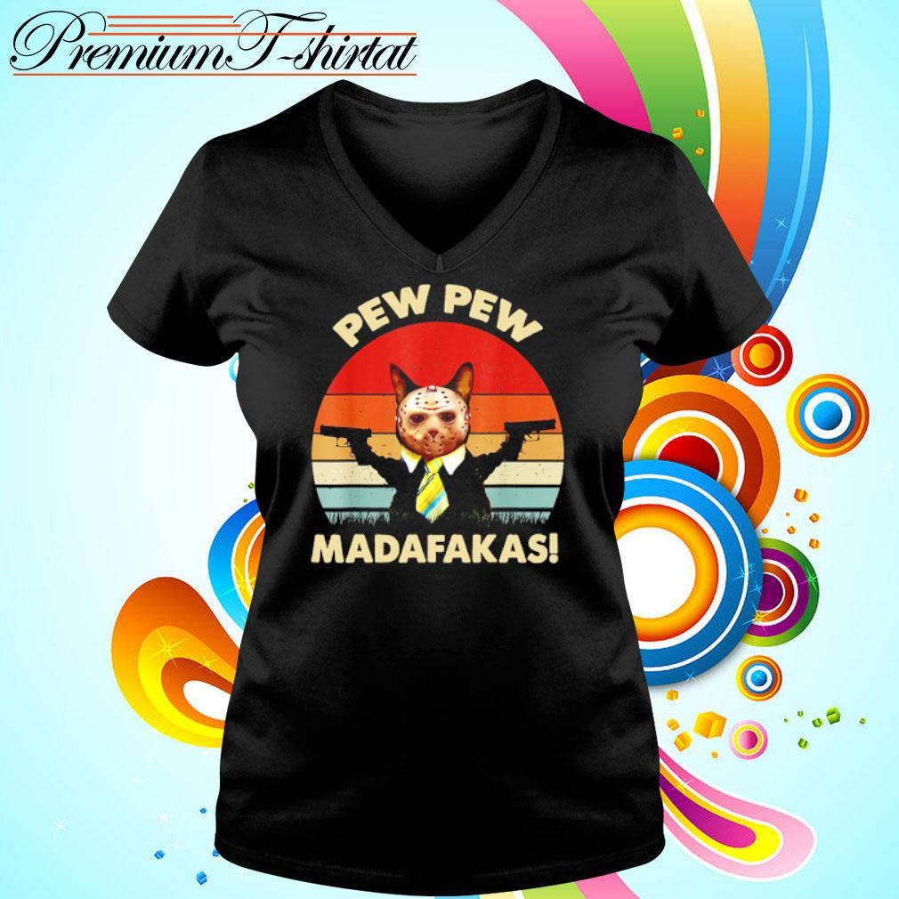 Jason Voorhees cat pew pew madafakas vintage s v-neck-t-shirt