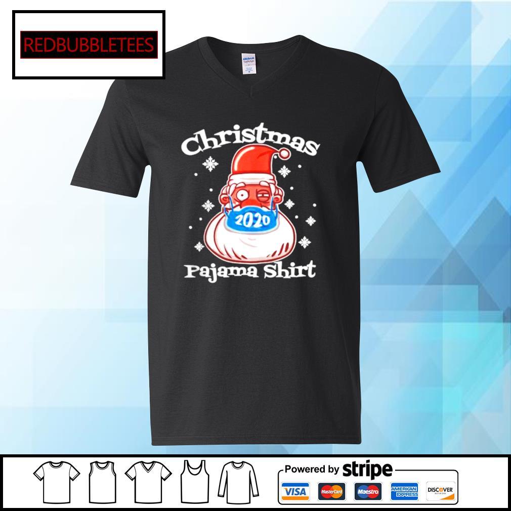 Christmas Pajamas Santa With Face Mask 2020 Xmas s V-neck T-shirt