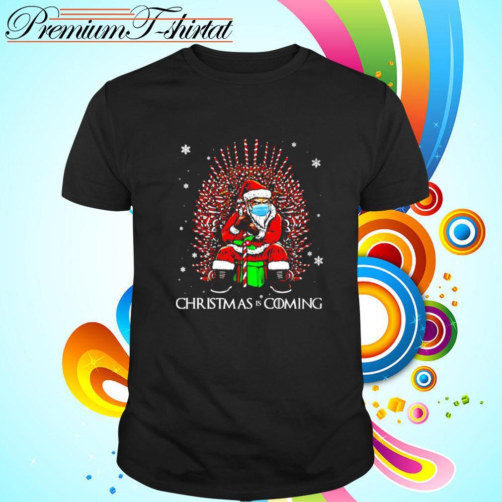 Santa Christmas Is Coming Santa Candy Cane Funny Throne Quarantine Christmas 2020 shirt