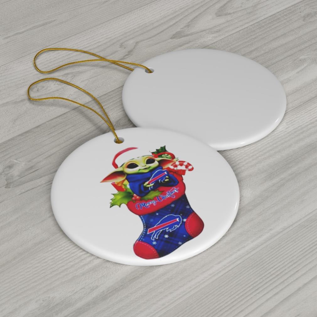 Baby Yoda Hug Buffalo Bills Merry Christmas 2020 Ornament