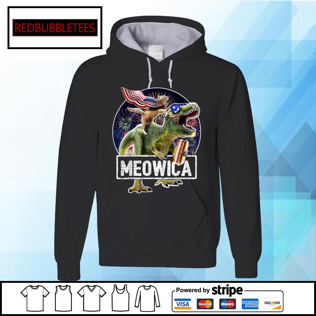 Cat Riding Dinosaur Meowica 4th of July s Hoodie