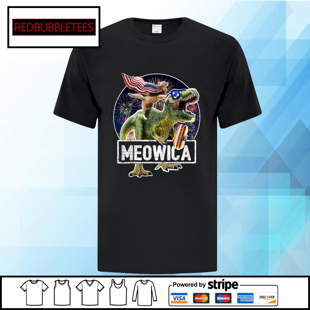 Cat Riding Dinosaur Meowica 4th of July shirt