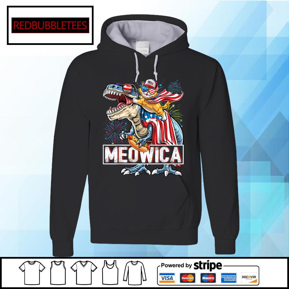 Cat Riding Dinosaur Meowica American Flag Independence Day 4th Of July s Hoodie