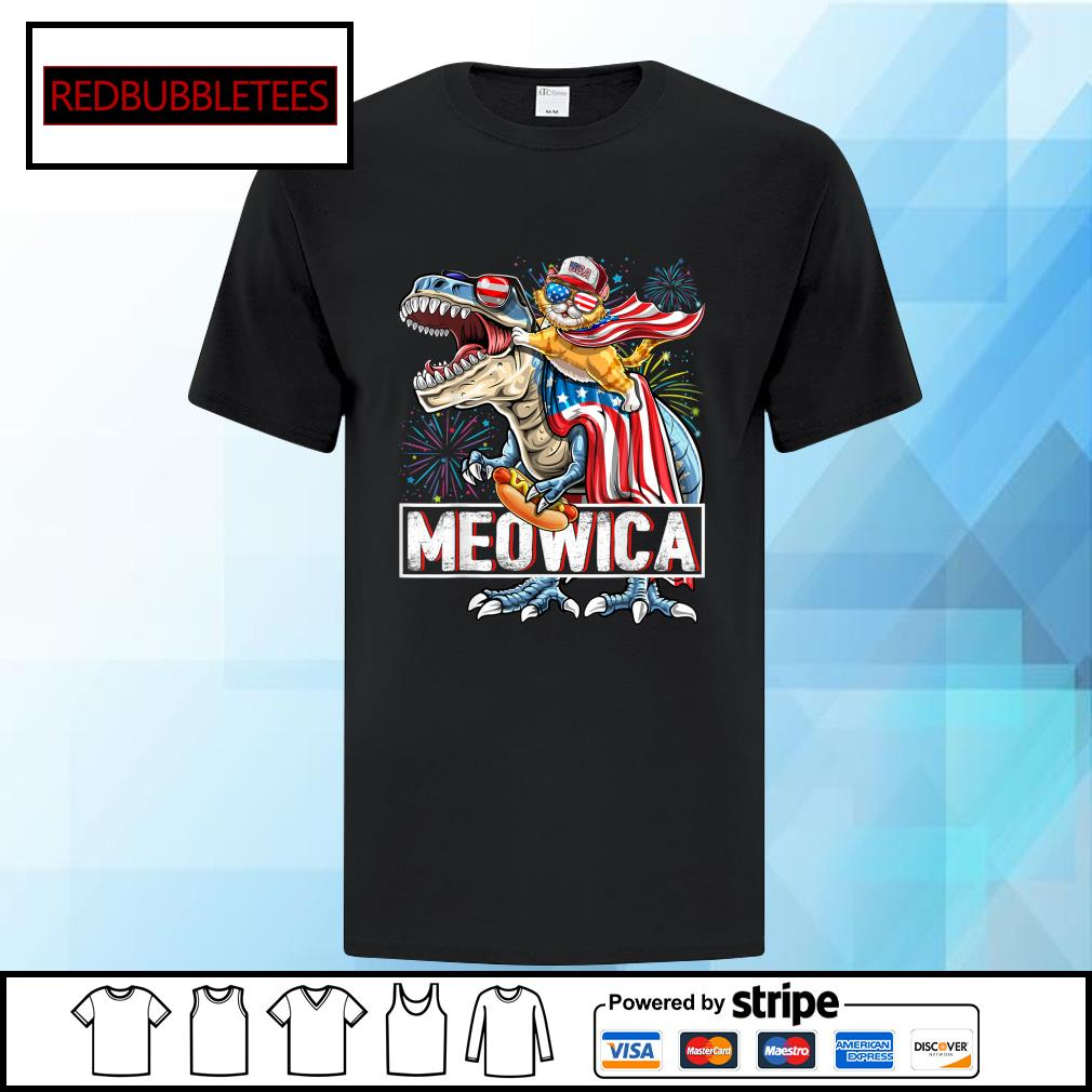 Cat Riding Dinosaur Meowica American Flag Independence Day 4th Of July shirt