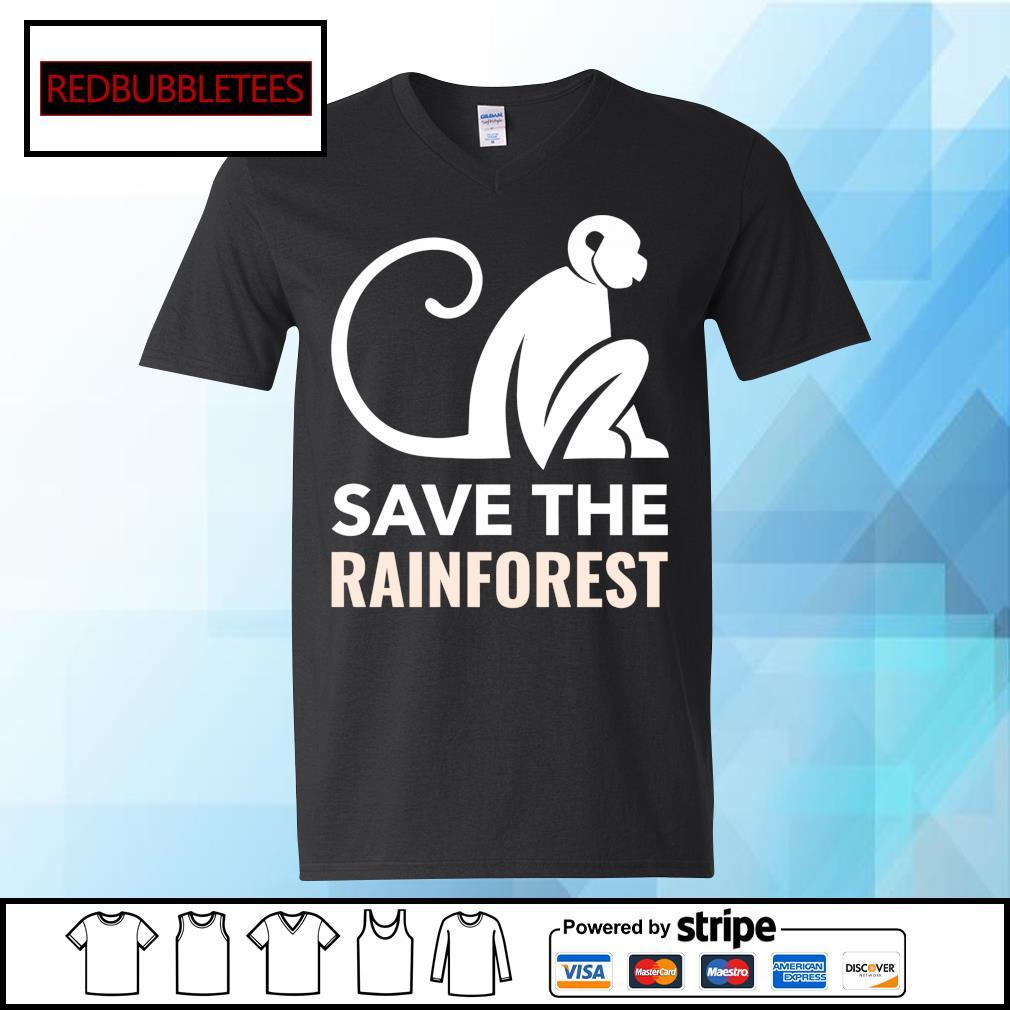 Monkey save the rainforest s V-neck T-shirt