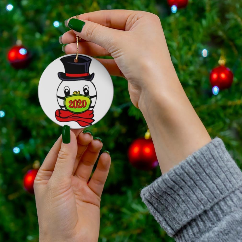 Snowman Mask Christmas 2020 Cute Quarantine Pajama Gift ornament
