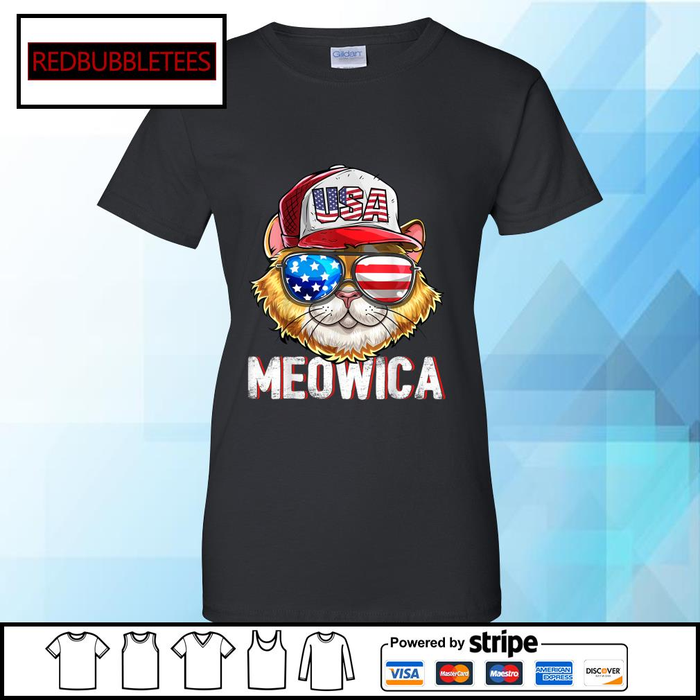 USA Cat Meowica Independence Day 4th Of July s Ladies tee