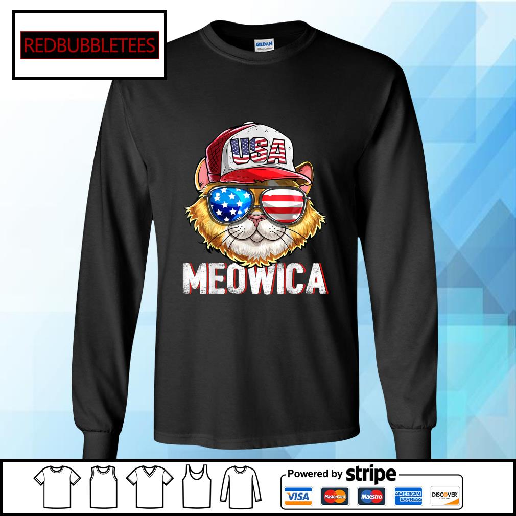 USA Cat Meowica Independence Day 4th Of July s Longsleeve-tee