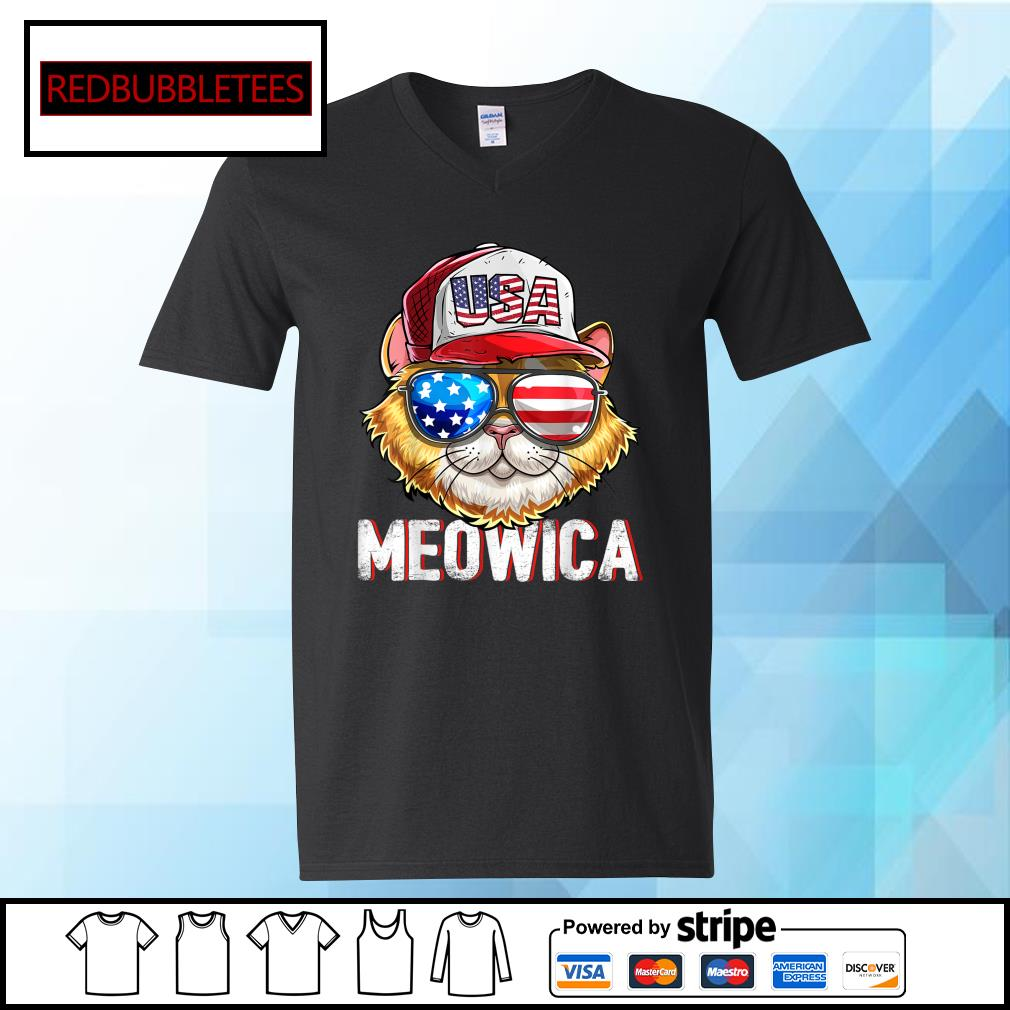 USA Cat Meowica Independence Day 4th Of July s V-neck T-shirt
