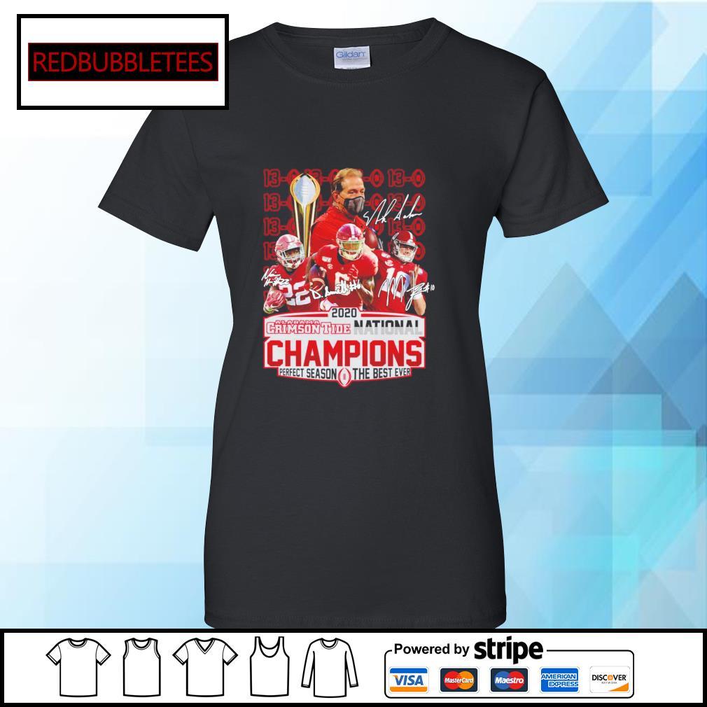 2020 Alabama Crimson Tide National Champions Perfect season the best ever signature alabama 52 24 Ohio s Ladies tee