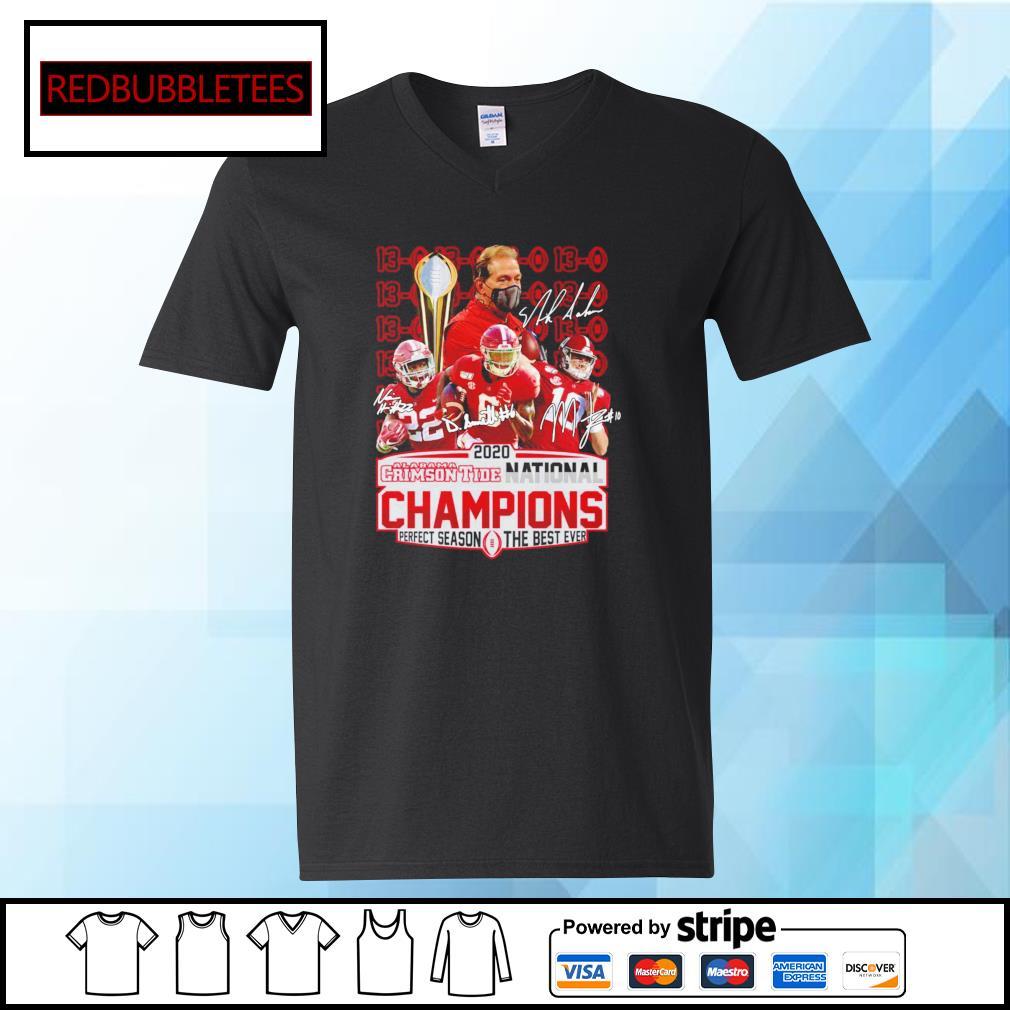 2020 Alabama Crimson Tide National Champions Perfect season the best ever signature alabama 52 24 Ohio s V-neck T-shirt