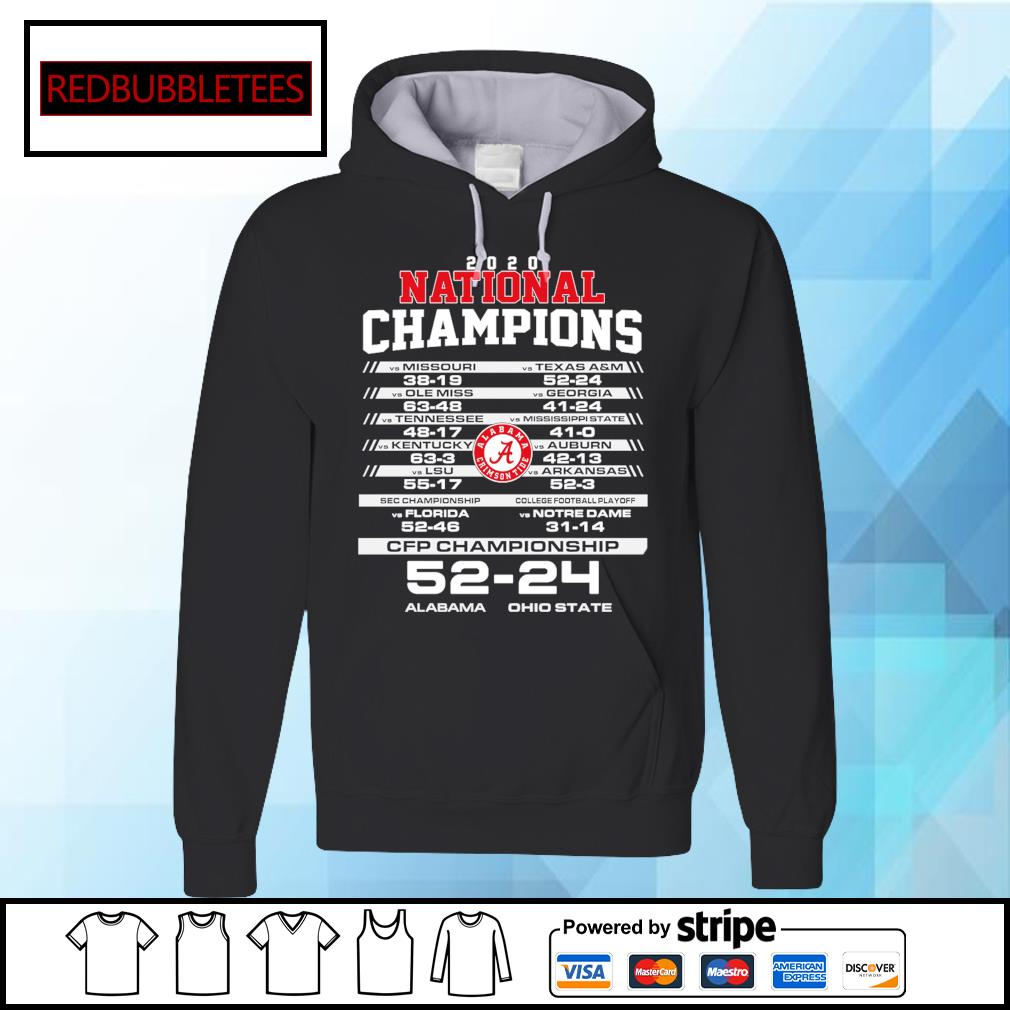 2020 National chapions CFP championship Alabama 52 24 Ohio s Hoodie