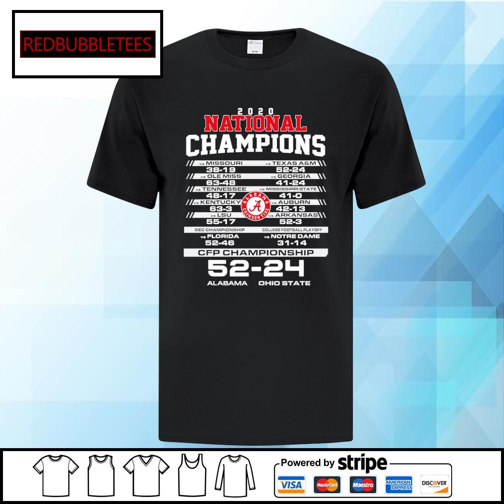 2020 National chapions CFP championship Alabama 52 24 Ohio shirt
