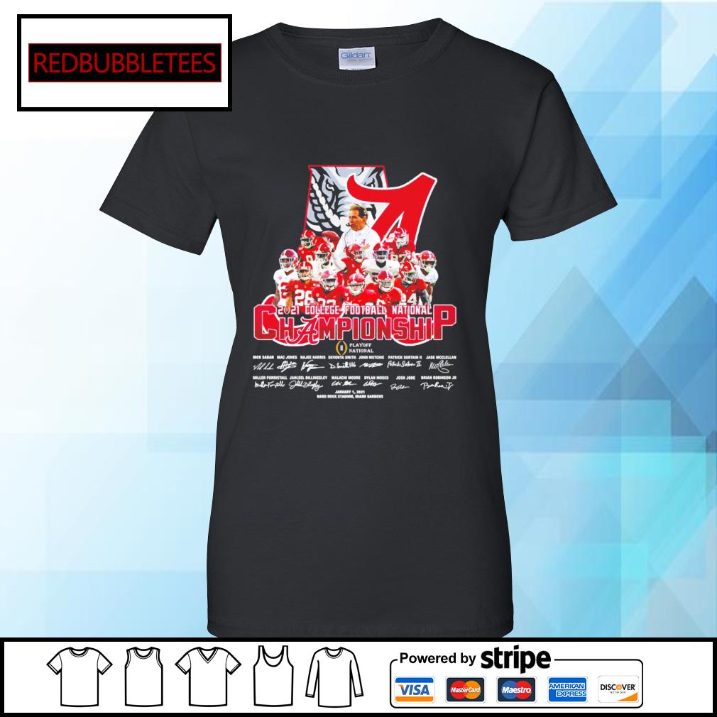 Alabama Crimson Tide 2020 College Football National Championship Playoff National January 1,2021 signature s Ladies tee