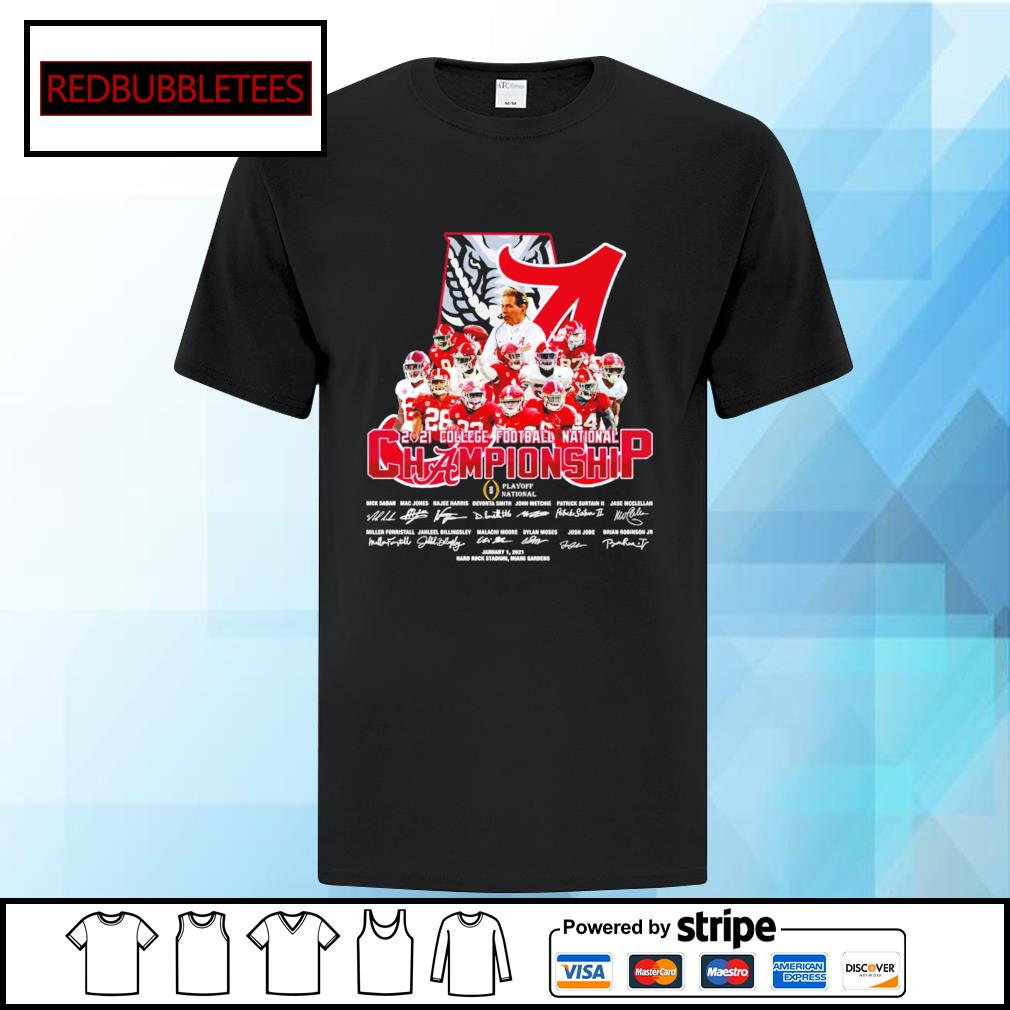 Alabama Crimson Tide 2020 College Football National Championship Playoff National January 1,2021 signature shirt