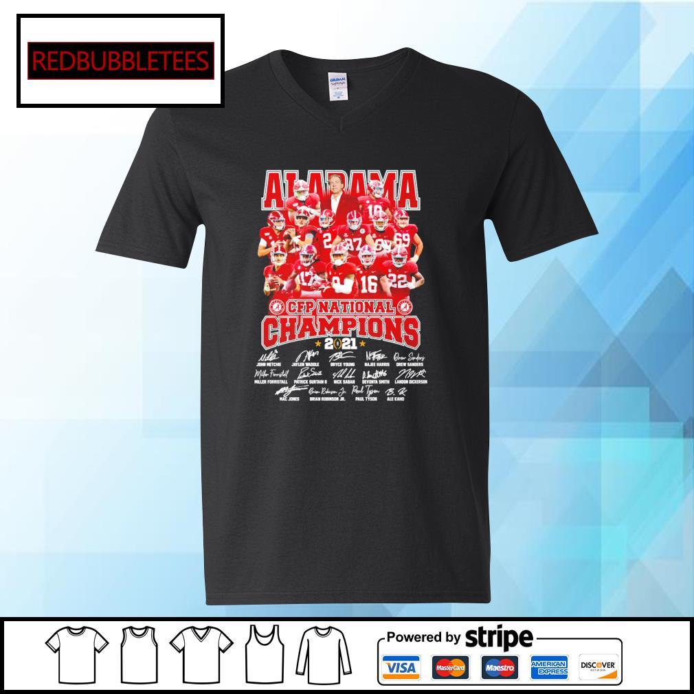 Alabama Crimson Tide CFP national champions 2021 signature s V-neck T-shirt