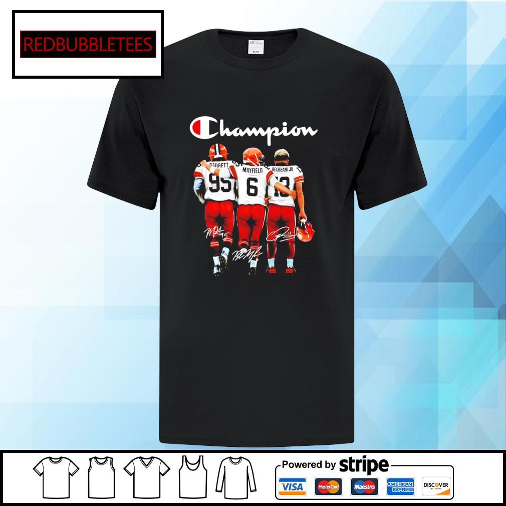 Cleveland Browns Champion Carrett Mayfield Beckham JR signature shirt
