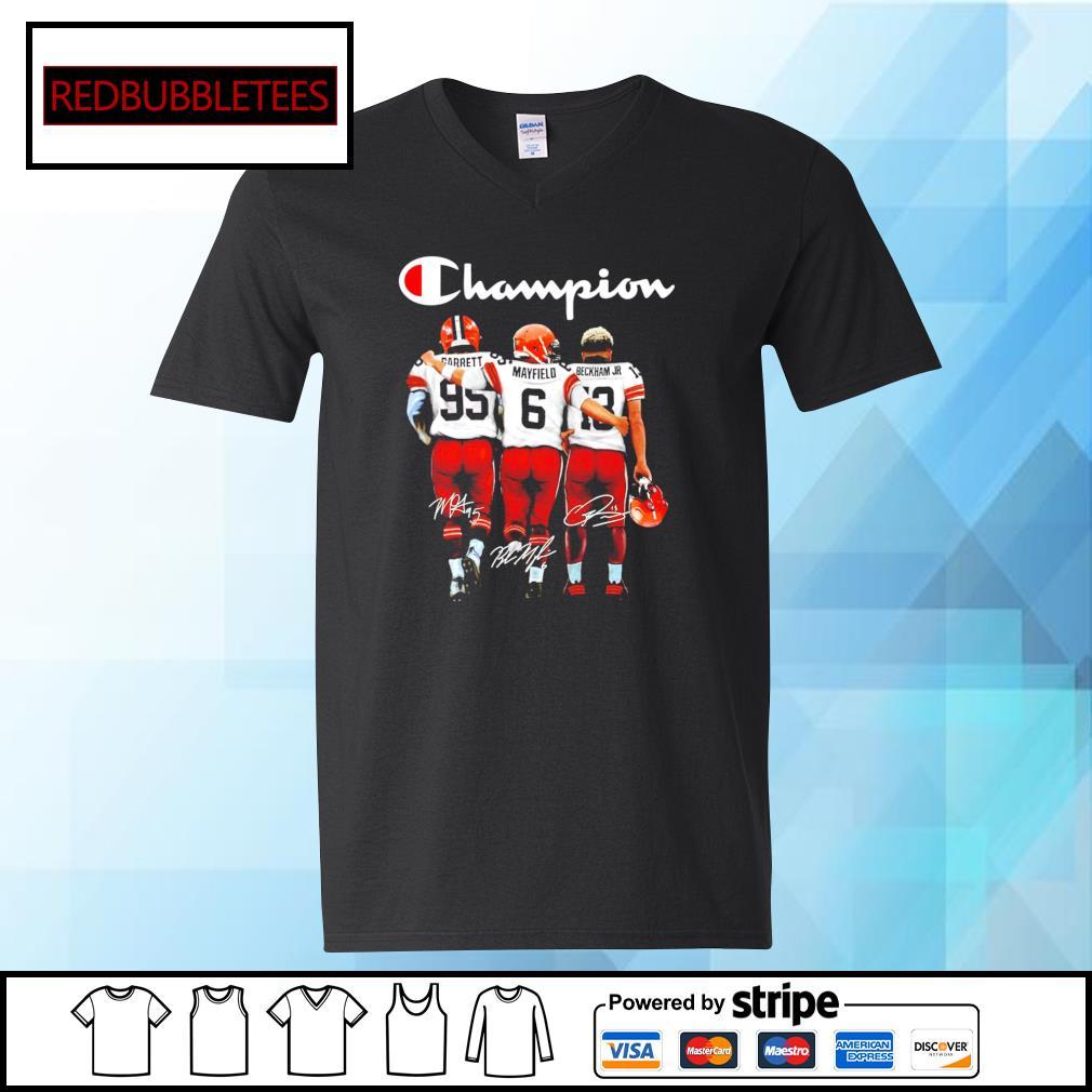 Cleveland Browns Champion Carrett Mayfield Beckham JR signature s V-neck T-shirt