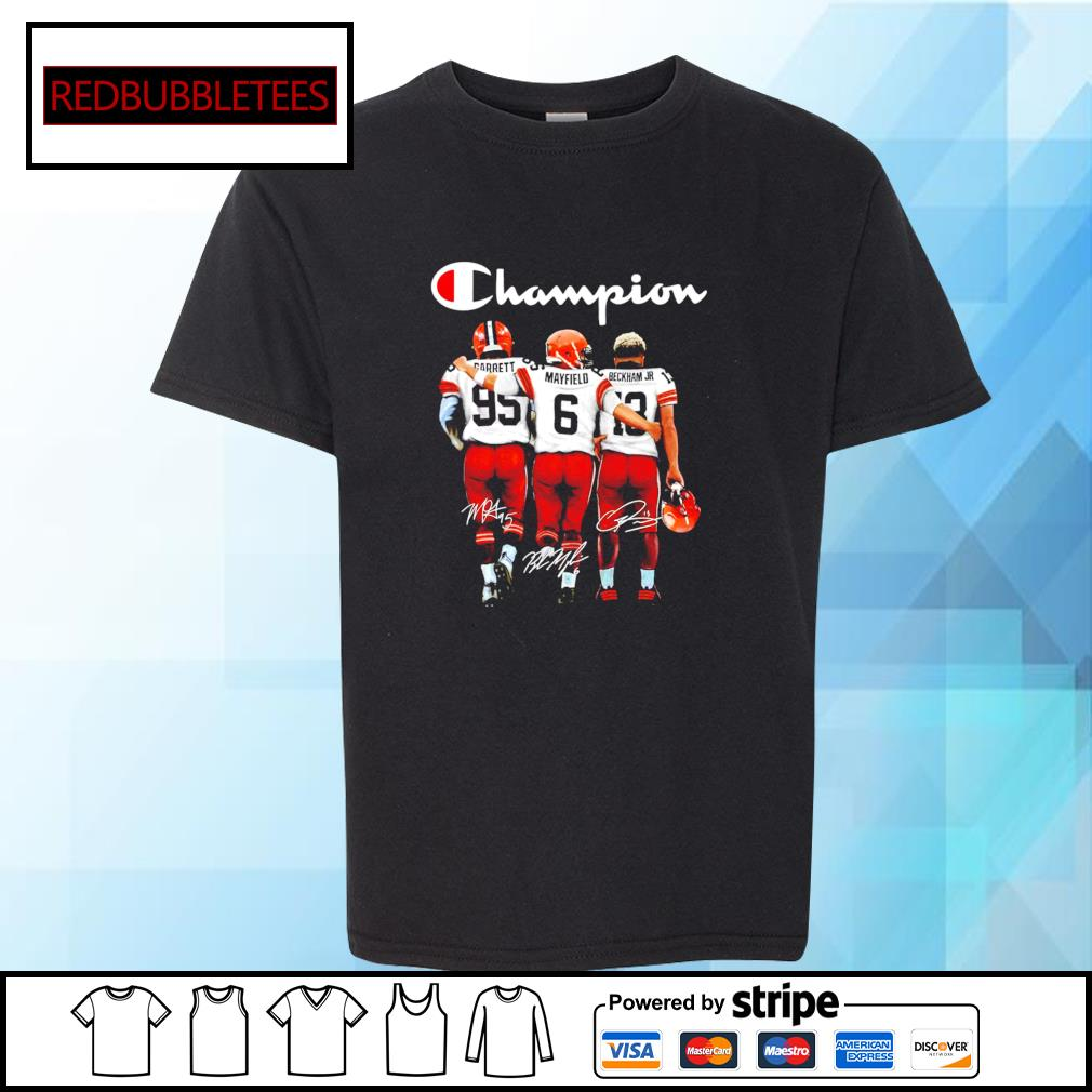 Cleveland Browns Champion Carrett Mayfield Beckham JR signature s Youth-tee