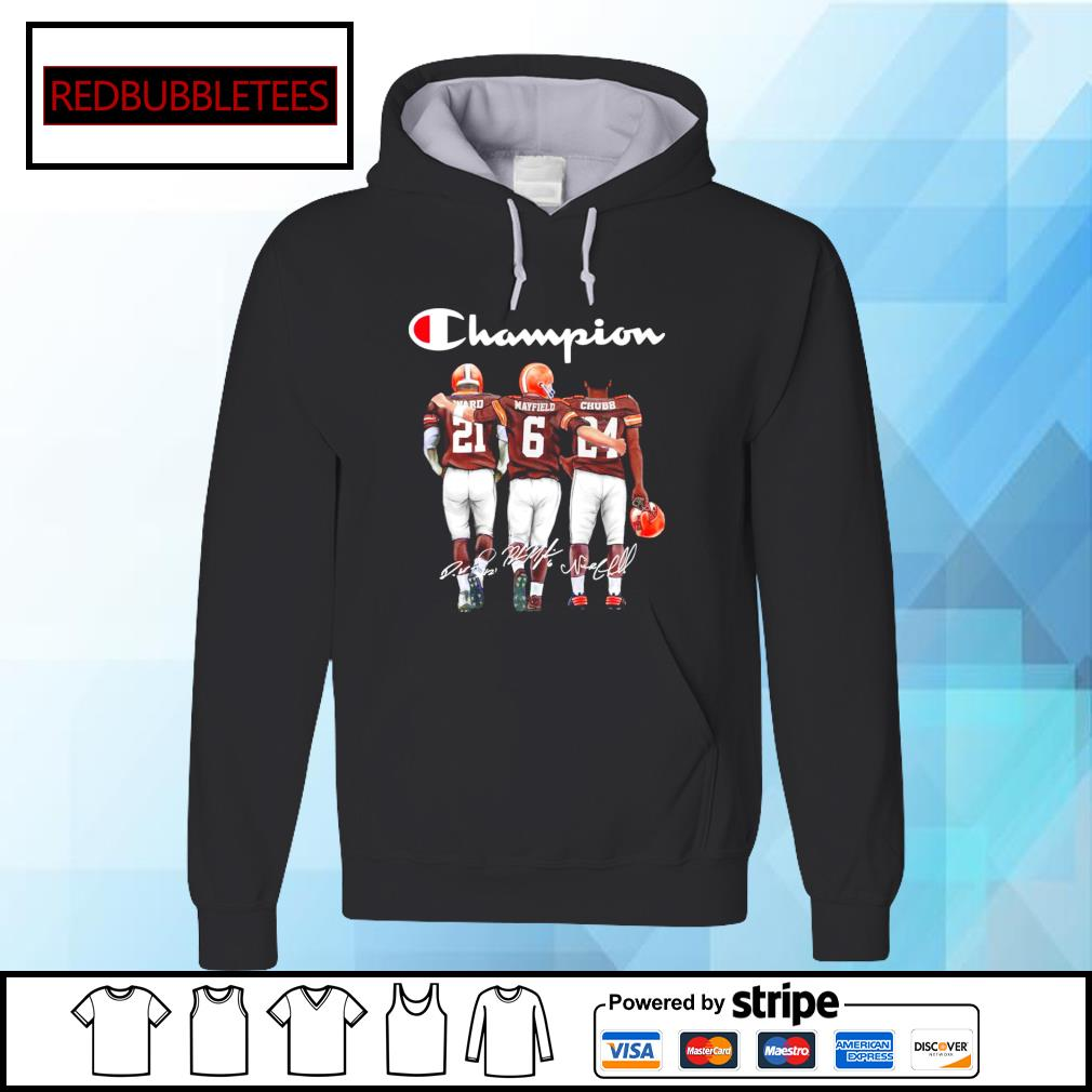 Cleveland Browns champion Ward Mayfield Chubb signature s Hoodie