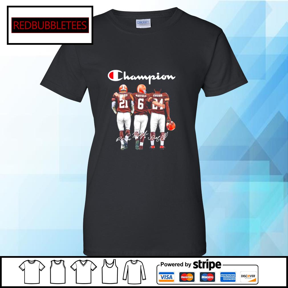 Cleveland Browns champion Ward Mayfield Chubb signature s Ladies tee