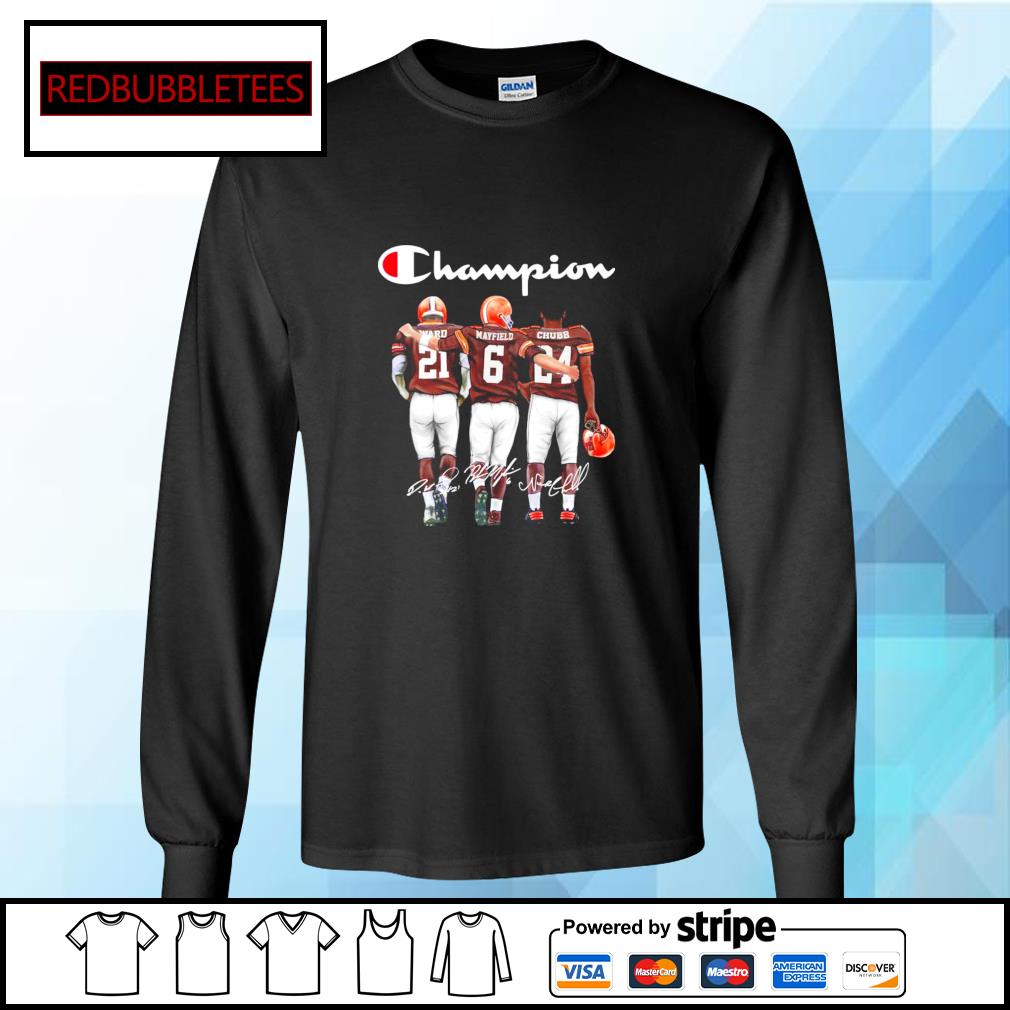 Cleveland Browns champion Ward Mayfield Chubb signature s Longsleeve-tee